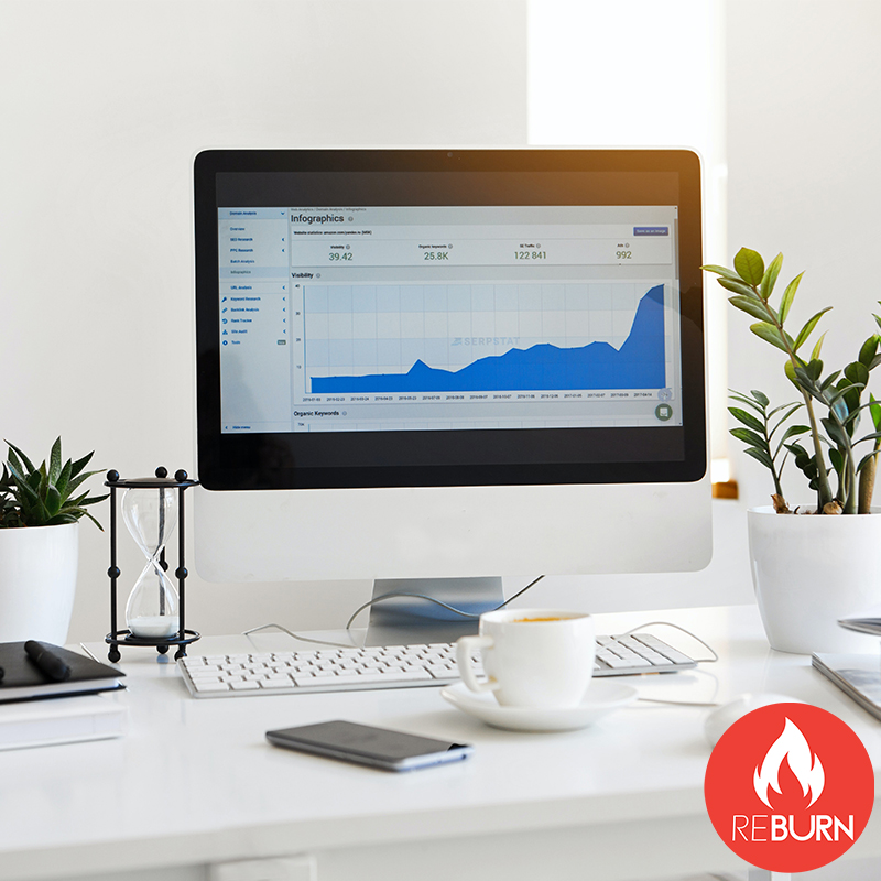 A laptop with a marketing graphic that illustrate how reburn marketing can improve brand awareness through the use of social media marketing social media management and website design